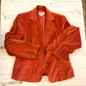 Talbots orange velvet 2 button blazer 12